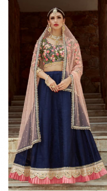 Embellished Blouse With Raw Silk Lehenga